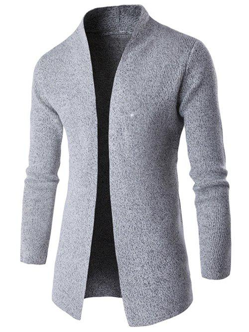 Buy Computer Knitted Collarless Long Sleeves Side Slit Cardigan GRAY