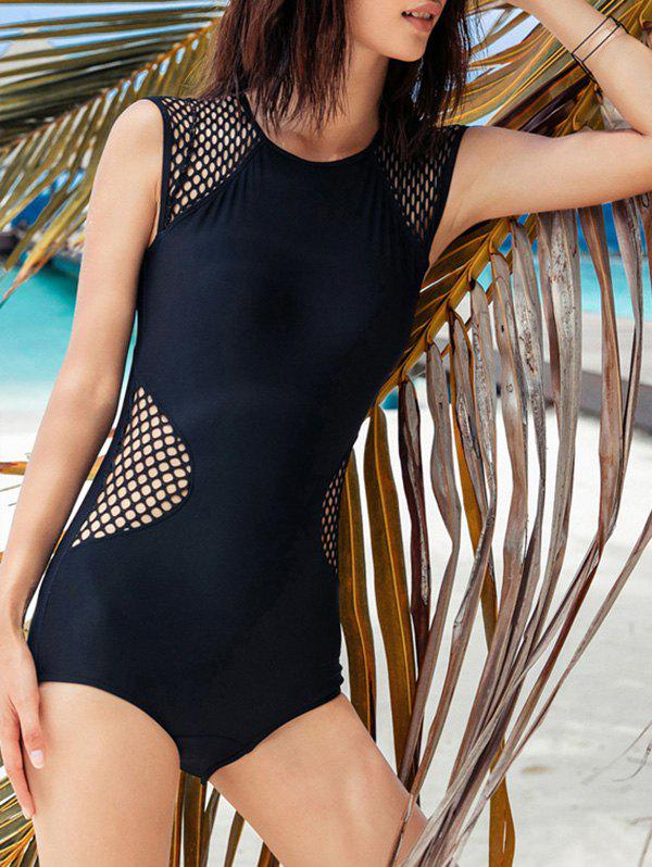 Under Wire Open Back One-Piece Swimwear - BLACK L