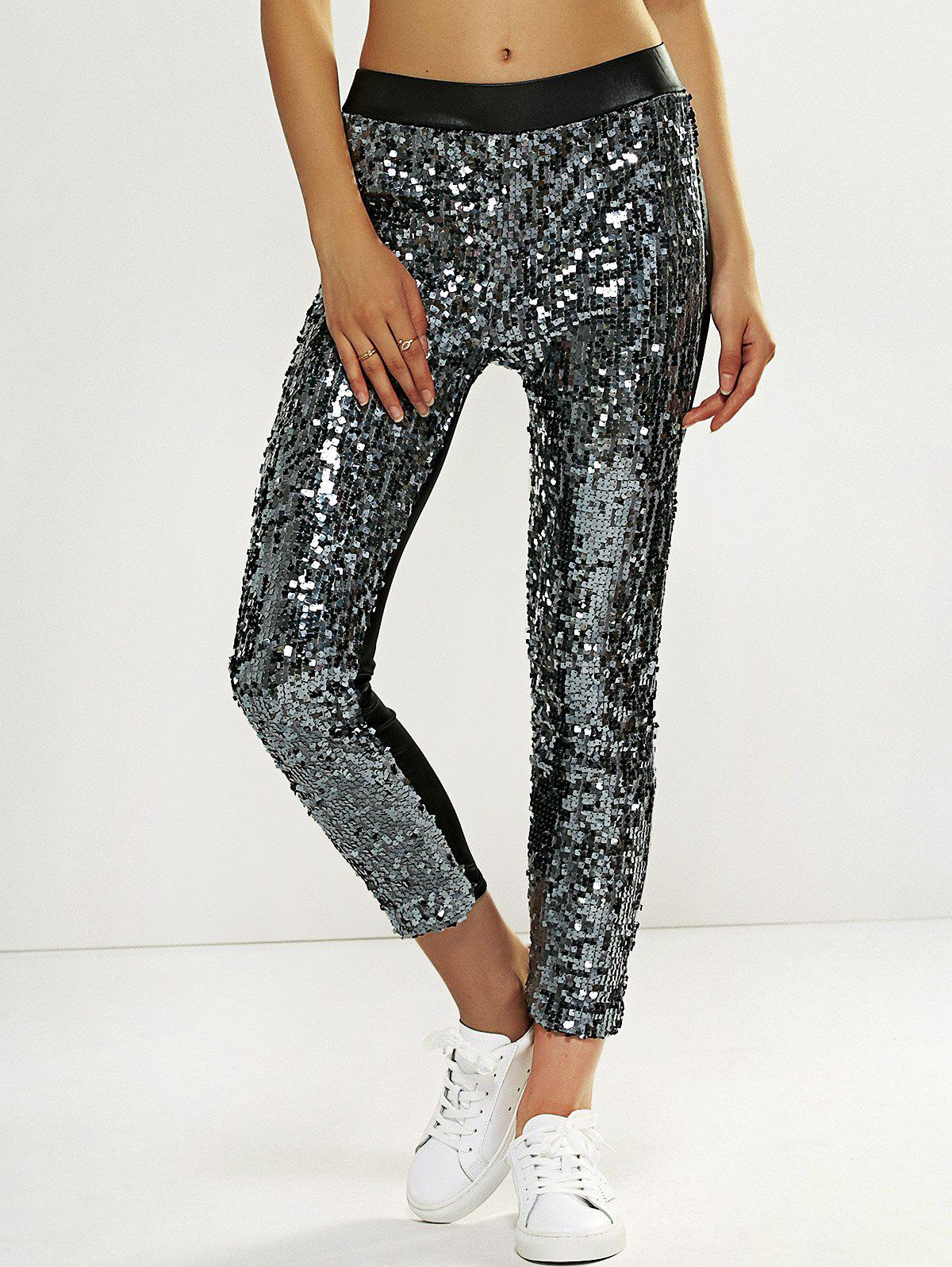 Faux Lether Sequins Glitter Pencil Pants - SILVER ONE SIZE