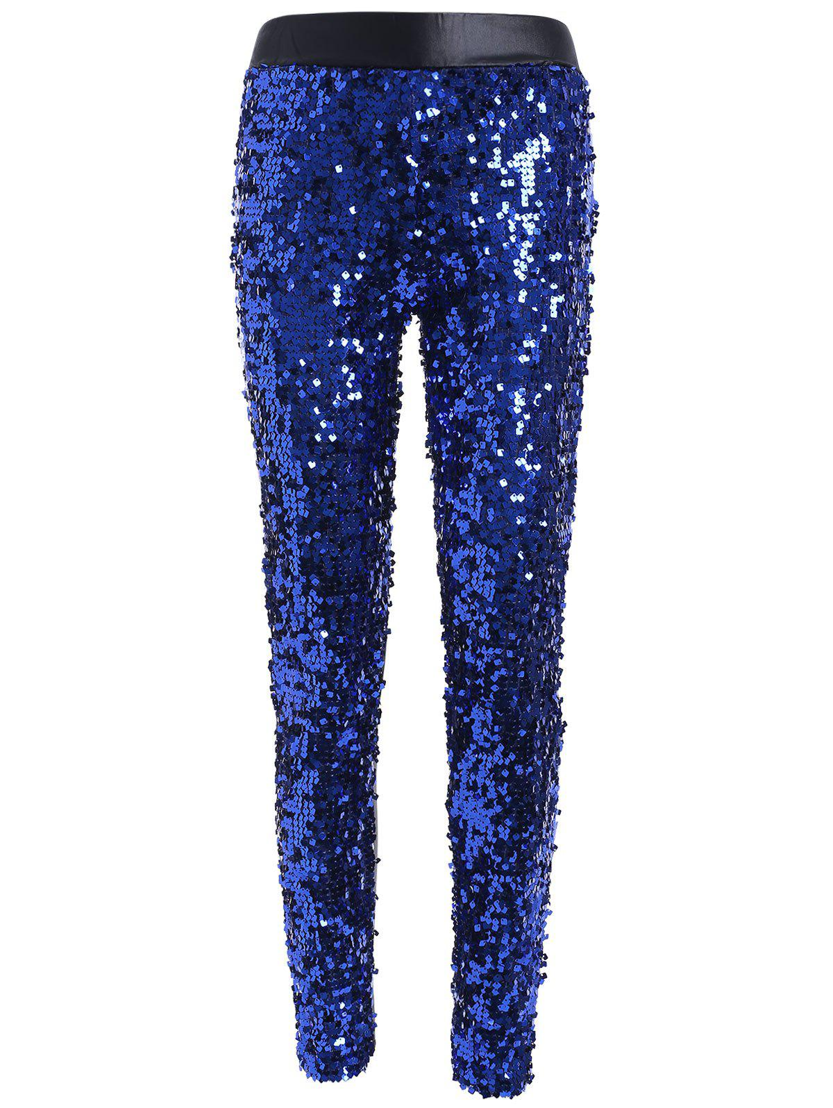 Faux Lether Sequins Glitter Pencil Pants - SAPPHIRE BLUE ONE SIZE