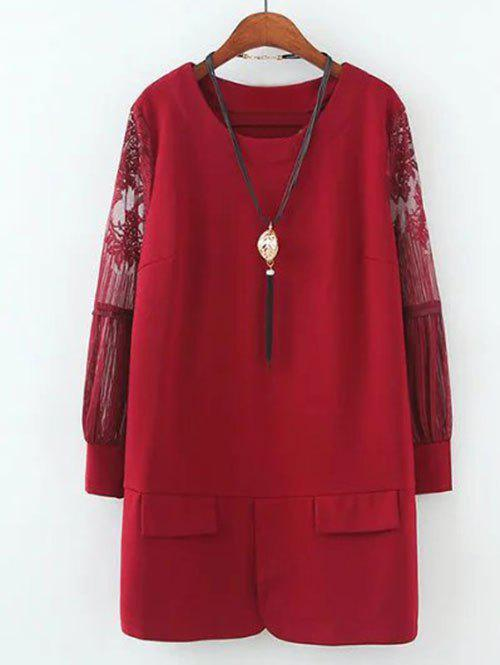 Plus Size Lace Splicing robe couleur unie - Rouge 2XL