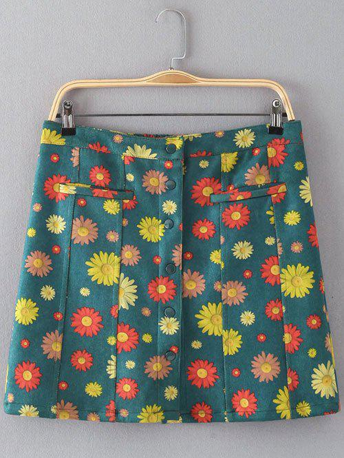 Floral Print Button Design Faux Suede Skirt - GREEN L