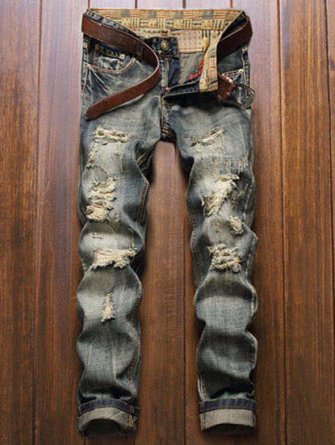 Five-Pocket Zipper Fly Straight Leg Frayed Ripped Jeans - BLUE 40