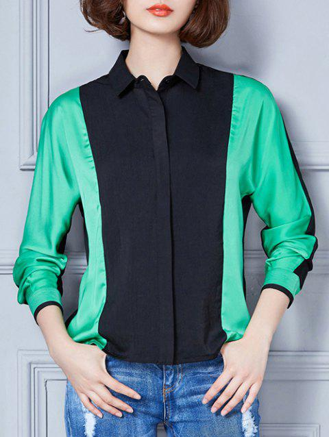 Contrast Color Spliced Loose-Fitting Shirt - GREEN 3XL