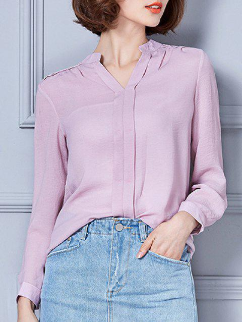 V-Neck Loose-Fitting Chiffon Blouse - PINK S