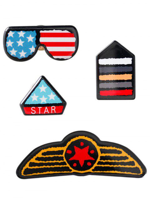 American Flag Glasses Star Badge Brooches - BLUE