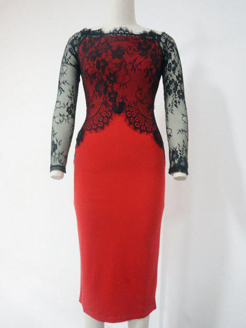 Lace See-Through Long Sleeve Pencil Dress - RED/BLACK L