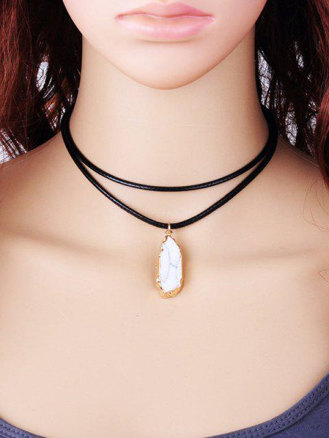 Double Layered Rope Natural Stone Pendant Necklace - WHITE
