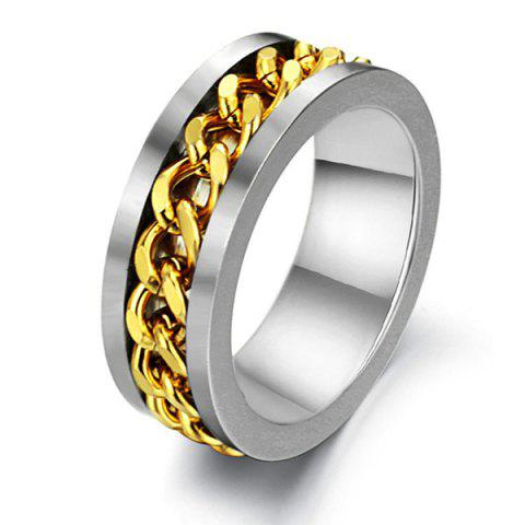 Link Chain Charm Stainless Steel Ring - SILVER