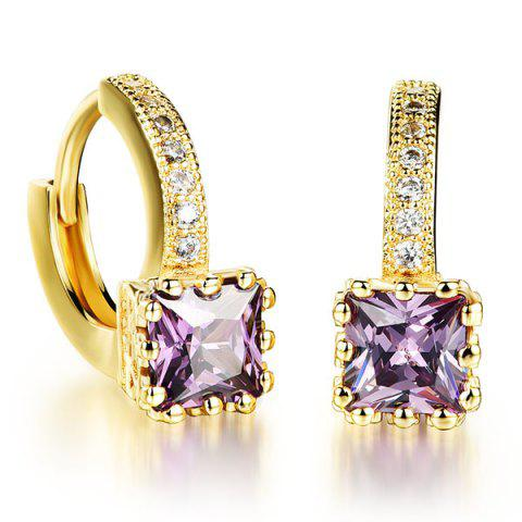 Pair of Square Rhinestone Hoop Earrings - PURPLE