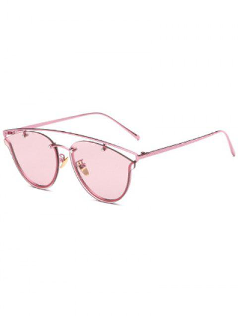 Joy-Ride Transparent Lens Crossbar Butterfly Sunglasses - PINK