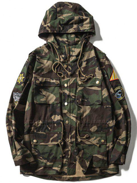 Veste Camo Patches multi-poches design Drawstring capuche - VERT D'ARMEE Camouflage 2XL