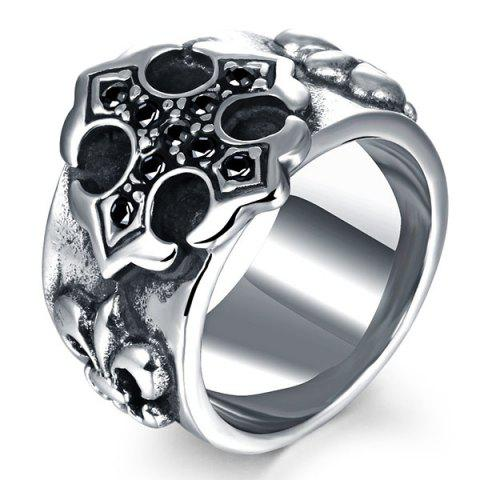 Embossed Etched Rhinestone Ring - SILVER