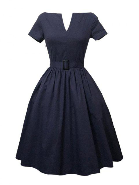 Plus Size Pleated A Line Vintage Cotton Dress - PURPLISH BLUE S