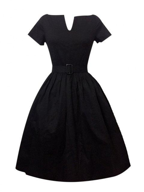 Plus Size Pleated A Line Vintage Cotton Dress - BLACK S