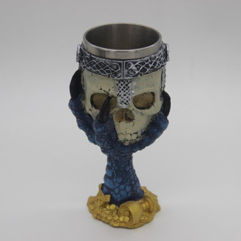 3D Hawk Claw Support Skull Shape Drinkware Goblet - DEEP BLUE