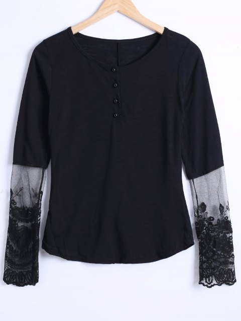 See Through Lace Trim Blouse - BLACK M