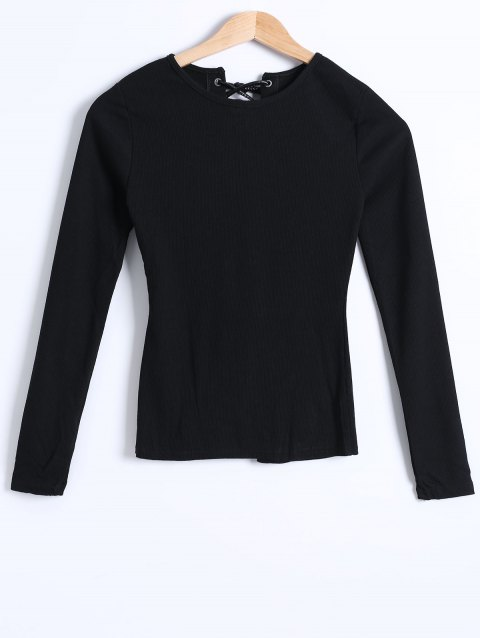 Ribbed Knit Lace-Up Blouse - BLACK M