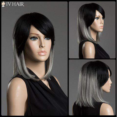 Two-Tone Ombre Medium Straight Human Hair Side Bang Siv Hair Capless Wig - COLORMIX