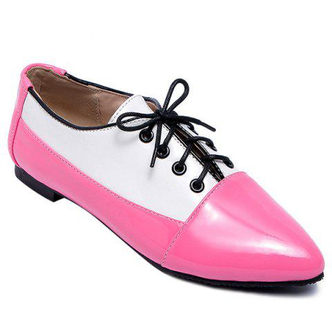 Chaussures Color Block Tie Up Flat - Rouge 43