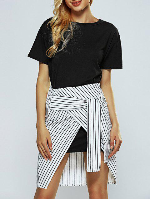 Short Sleeves Long T-Shirt and Striped Skirt Set - BLACK S