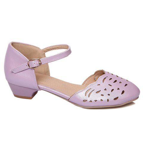 Hollow Out Ankle Strap Flat Shoes - PURPLE 41