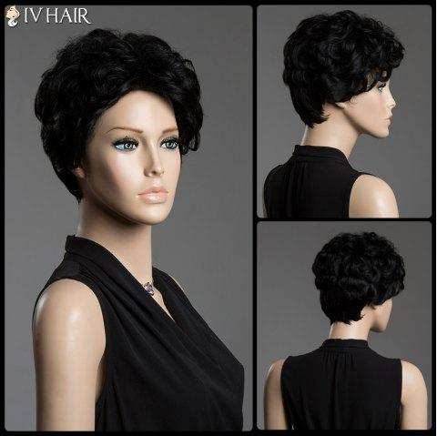 Real Human Hair Sophisticated Short Siv Hair Fluffy Curly Capless Wig - JET BLACK