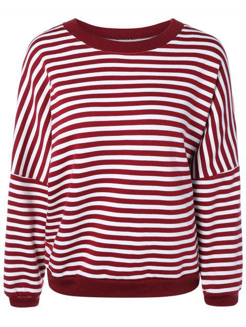 Loose Striped Sweatshirt - RED ONE SIZE