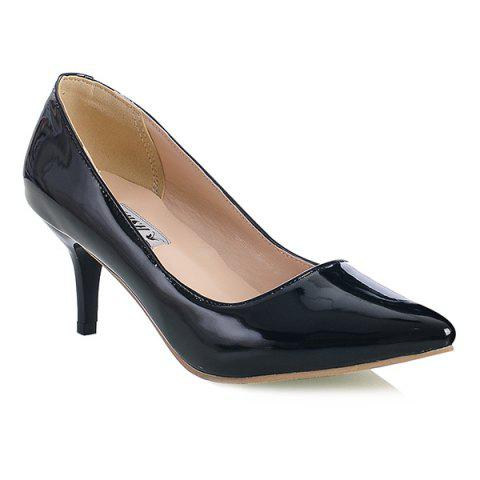 Slip On Point Toe Pumps - BLACK 41