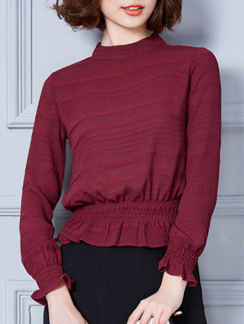 Stand Collar Flounce Shadow Striped Blouse - WINE RED 2XL