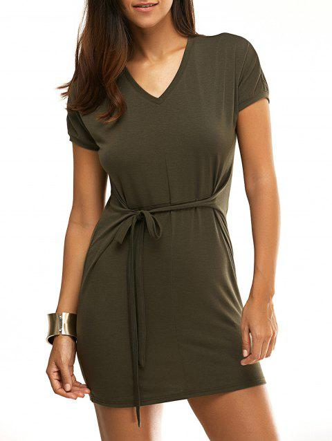 Chic Short Sleeve V-Neck Solid Color Pleated Women's Dress - ARMY GREEN XL