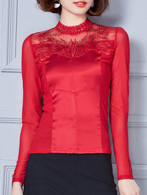 Mesh-Insert Embroidery Rhinestone Embellished Blouse - RED XL