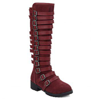Suede Multi Buckles Mid-Calf Boots - WINE RED 39