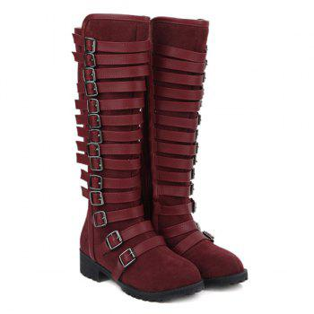 Suede Multi Buckles Mid-Calf Boots