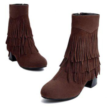 Stylish Layer Fringe and Chunky Heel Design Women's Boots - CAMEL 39