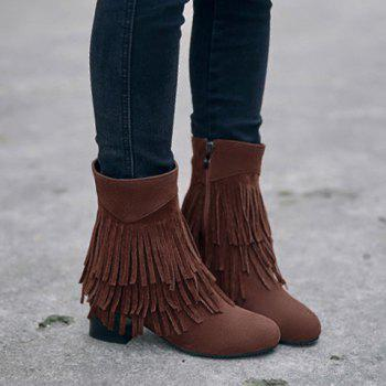 Stylish Layer Fringe and Chunky Heel Design Women's Boots