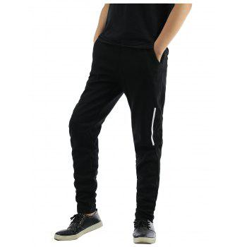 Solid Color Selvedge Embellished Lace-Up Narrow Feet Jogger Pants
