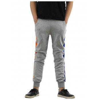 Buy Color Block Splicing Design Lace-Up Beam Feet Jogger Pants GRAY