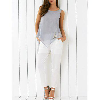 Embroidered Asymmetrical Tank Top and Pants Set