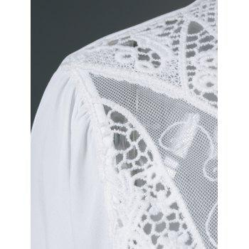 Lace Patchwork Embroidery Loose Blouse - WHITE S