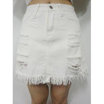 High Waist Ripped Fringed Skirt