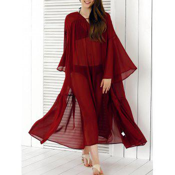 See-Through Split Cover-Up, WINE RED, M in Cover-Ups ...