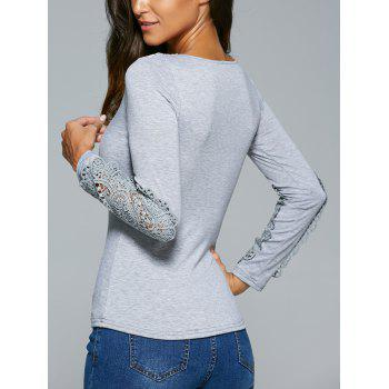 Lace Insert Crochet Hollow Out T-Shirt - GRAY GRAY