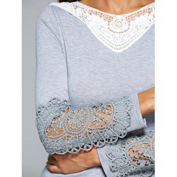 Dentelle Spliced ​​Crochet évider T-shirt - Gris S