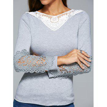 Lace Insert Crochet Hollow Out T-Shirt - GRAY S