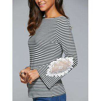 Striped Lace Insert T-Shirt - S S