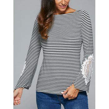 Striped Lace Insert T-Shirt - BLACK BLACK