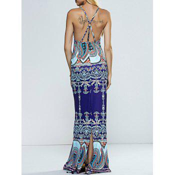Spaghetti Straps Paisley Print Backless Slit Maxi Dress