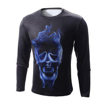 Round Neck Long Sleeve 3D Skull Flame Print T-Shirt