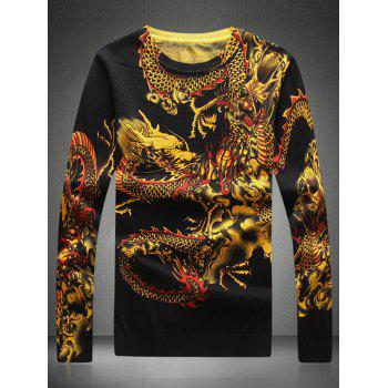 Round Neck Dragon Printed Sweater